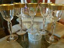 5 Tiffin Rambler Rose After Dinner Wine Goblets with gold rims