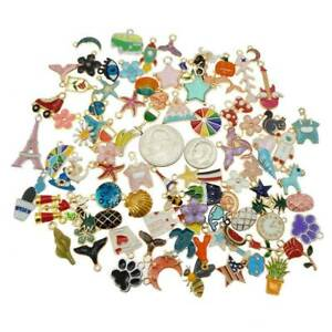 Mixed Assorted Enamel Alloy Animal Flower Cat Pendant Charms DIY -Findings 20x