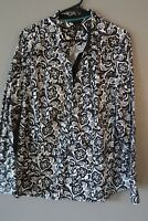 SALE: Womens top blouse shirt size 22W Lane Bryant black/white stretch floral