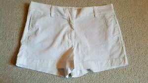 "Womens Shorts-J. CREW-white cotton stretch ""Chino"" flat front 5-pocket-8"