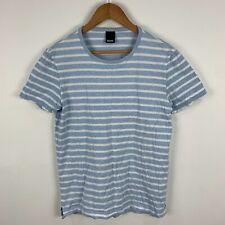 Hugo Boss Mens T Shirt Medium Slim Blue White Striped Short Sleeve Round Neck