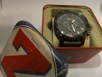 Fossil JR1419 Mens Leather Band Chronograph Watch, Quartz Grey w/ Analog Hands