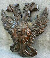 Antique german black forest barrel door ornament early 1900's eagles coat of arm