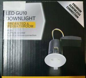 White IP65 Bathroom Shower GU10 LED Ceiling Downlight Spotlight Fire rated