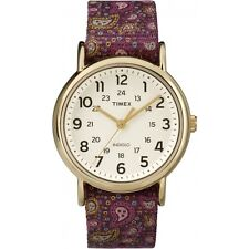 """new Timex """"Weekender"""" fabric/bordeaux/golden indiglo watch TW2P 81000"""