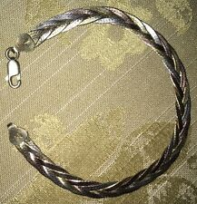 """Plaited 925 3 Strand Bracelet - Pink Silver & Gold-tone 8"""" Made In Italy"""