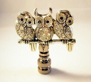 Lamp Finial-OWLS ON BRANCH-Antique Silver finish, Rhinestone encrusted