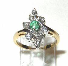 Vintage Earth Mined Emerald and Diamond Cocktail Ring 10K
