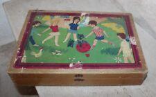 ancien jeu de cubes (24 pièces) enfants jouants cow boy- vélo - pique nique
