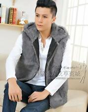 Men's Vest 100%Real Rabbit Fur Vest Gilet Jacket Coat Waistcoat Hoodie Grey-132S