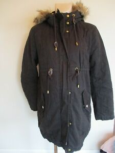 H&M MAMA MATERNITY BLACK QUILTED PARKA COAT MAC JACKET SIZE S 8-10