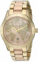 Michael Kors MK6476 Layton 44MM Women's World Map Crystal Stainless Steel Watch