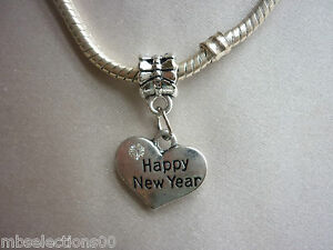1 x Happy New Year Heart Pendant Charm with rhinestones suit European Bracelet