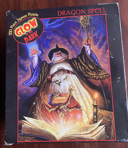 NEW 2002 Ceaco 550pc piece DRAGON SPELL Glow in the Dark Jigsaw Puzzle - Bad Box