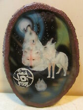 Wolf Pack Full Moon Indian Wood Looking Wall Plaque