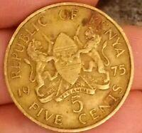 1975 Kenya 5 Cents five President Mzee Jomo Kenyatta 300819