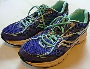 Saucony Cohesion Womens Blue Yellow Sneakers Running Shoes Support USA Size 11