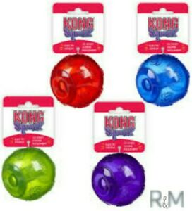 Kong SQUEEZZ - SET OF (4) LARGE Balls (4 Colors) Squeaks Even When Punctured!