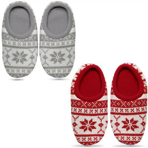 Warm Unisex Nordic patterned slippers Great Gift Fleece lining M/L Antislip sole