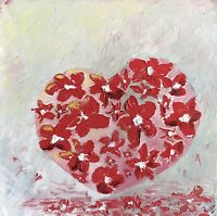 In Love, oil abstract painting on canvas, original. Pop Art, romantic, For Her