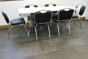 American 50s Diner Furniture Large Booth Table & 6 Black Studded Chairs