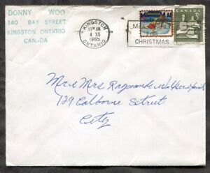 p747 - Canada KINGSTON 1965 Christmas Slogan on Local Cover. Seals ✉