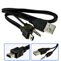 Mini-USB B Male 5p to usb 2.0 and 3.5mm jack Plug Audio/Video Cable 49cm