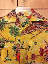 023a1928 Vintage Cascade Hawaiian Men's Yellow & Orange Floral Polyester Camp Shirt S