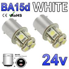 2 x 24v Cool White BA15D 8 SMD LED Bulbs 150 HGV Truck Boat Dual Contact