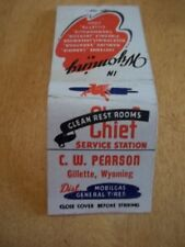 Matchbook Full Chief Service Station Mobil Gas CW Pearson Gillette Wy #91
