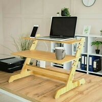 Standing Desk Converter Natural Bamboo Adjustable Sit Stand Riser Workstation