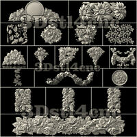 20 Plus 3D STL Models Flower Decor for CNC Router Carving Machine Artcam aspire