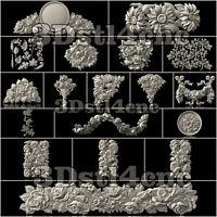20 Plus 3D STL Models Flower Decor for CNC Router Carving Machine Artcam aspire