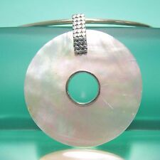 """2 1/2"""" Natural White Mother of Pearl Shell Handmade Pendant 925 Sterling Silver"""