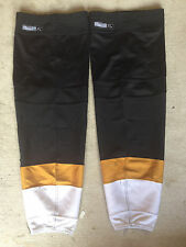 Dallas Stars REEBOK Edge Pro Stock Hockey Shin Pad Socks XL Black Gold and White