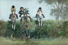 Hunting, horses open edition print by Jennifer Bell. Daddys First Day Out