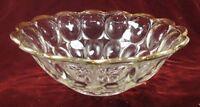 Vintage Elongated Thumbprint Pressed Glass Serving Bowl Gold Scalloped Edge (O)