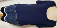 DESIGUAL Damen Kleid Gr XL Blau Kurzarm Rundhals fantastische Stickerei Glitzer