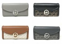 Michael Kors Fulton Flap Large Continental Leather Wallet MK Signature Leather