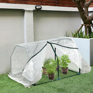 Mini Tunnel Greenhouse Warm House Shelter Plant Shed Portable Steel Frame 2FT