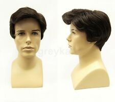 Mens Short Dark Brown Side Part Wig Synthetic Costume Wig
