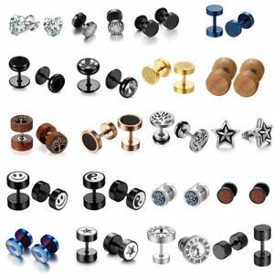 2PCS Stainless Steel CZ Round Barbell Men Women Screw Back Ear Studs Earrings