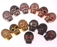 Zircon Gemstones Pave Horizontal Drilled Skull Bracelet Connector Charm Beads