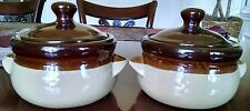 2 Two-Tone Stoneware Baked Bean Pot with Lid