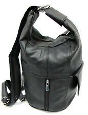 Large Special Design Genuine Leather Two in One Backpack Sling Bag Purse Blk Brn