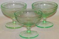 U.S. Glass USA Cherry Berry 3 Green Depression Sherbets