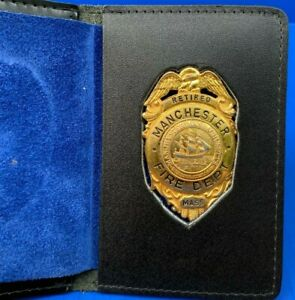 Rare Retired Firefighter Badge Manchester By The Sea, MA. Tall Ship Design