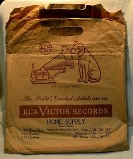 Vintage 78 RPM RCA Victor Dog Record Brown Paper Retail Store Bag Memorabilia