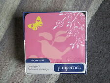 BNWT Portmeirion Pimpernel Dawn Chorus Set of 6 Coasters Pink & Blue