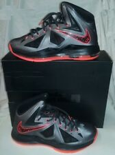 Nike Lebron X Charcoal Total Orange Black Shoes Size 13 NEW!